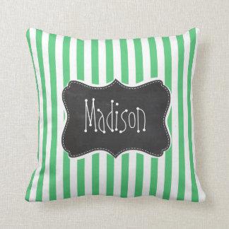Emerald Green Vertical Stripes; Vintage Chalkboard Throw Pillow