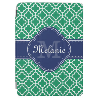 Emerald Green Wht Moroccan Pattern Navy Monogram iPad Air Cover