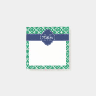 Emerald Green Wht Moroccan Pattern Navy Monogram Post-it Notes