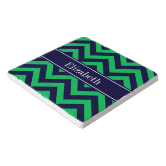 Emerald Navy LG Chevron Navy Blue Name Monogram Trivet