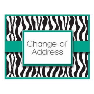 Emerald Zebra Print Change of Address Postcards