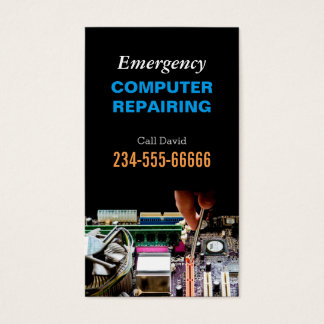 Emergency Computer Repairing Maintenance PC Master Business Card