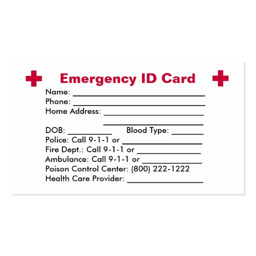 Custom Card Template 187 Free Emergency Contact Card
