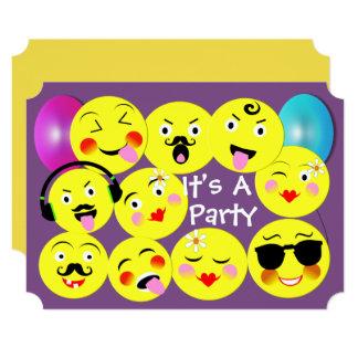 Emoji Funny Cute Trendy Smiley Faces Party Card