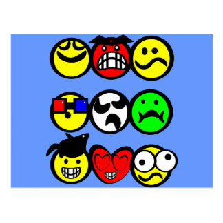 Emotions Faces Postcard