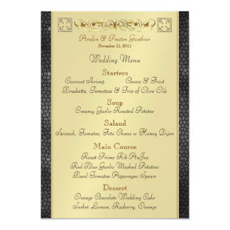 Emperor Black Scroll Stained Glass Wedding Menu 5x7 Paper Invitation Card