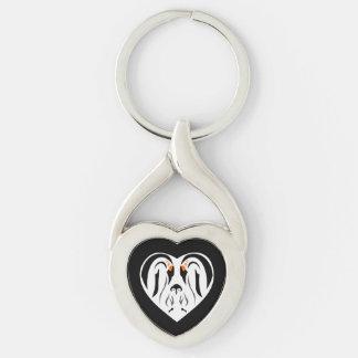 Emperor Penguin Family Love Heart Key Ring