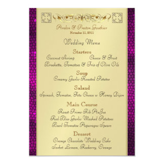 Emperor Pink Scroll Stained Glass Wedding Menu Card