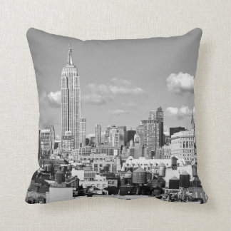 Empire State Building NYC Skyline Puffy Clouds BW Cushion