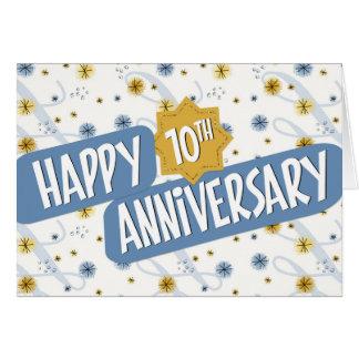 Employee Anniversary 10 Years Blue White Pattern Card