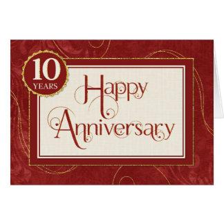 Employee Anniversary 10 Years - Text Swirls Damask Card