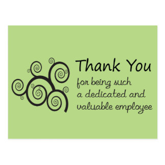Employee Thank You with swirly vine Postcard