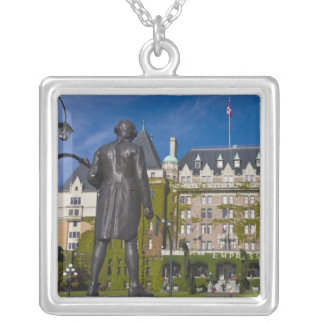 Empress Hotel and statue of Captain James Cook, Silver Plated Necklace