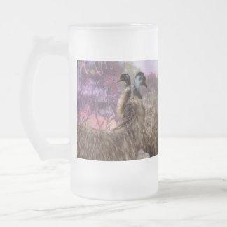 Emu Courtship, Frosted Glass Beer Mug