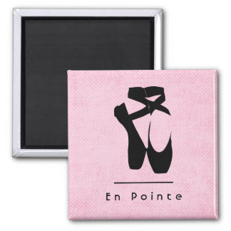 En Pointe Text with Black Ballet Shoes En Pointe Square Magnet