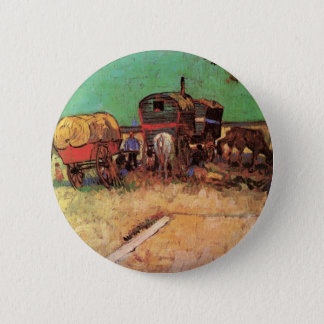 Encampment of Gypsies with Caravans by van Gogh 6 Cm Round Badge