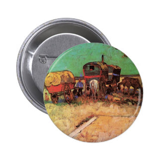 Encampment of Gypsies with Caravans by van Gogh 6 Cm Round Badge