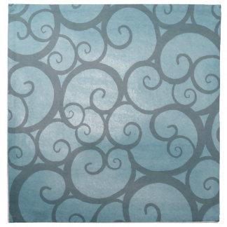 Enchanted Blue Wavy Swirl Pattern Napkin
