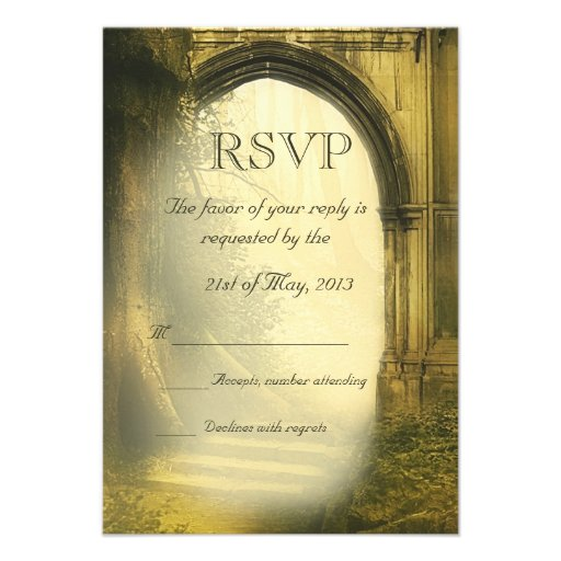 Enchanted Forest Arch Wedding RSVP Personalized Invitation