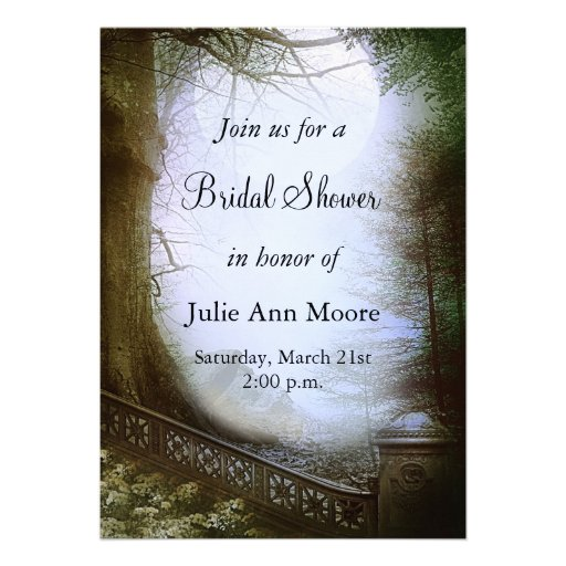 Enchanted Forest Scene Bridal Shower Personalized Invite
