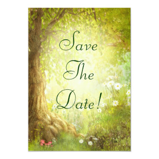 Enchanted Forest Scene Save The Date Wedding Card