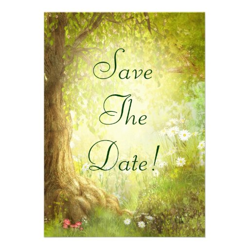 Enchanted Forest Scene Save The Date Wedding Announcement
