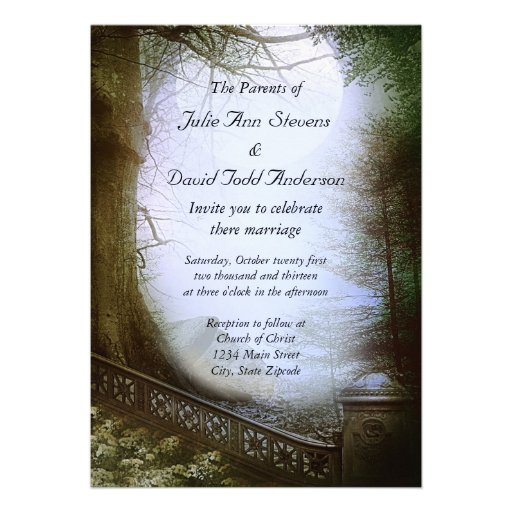 Enchanted Forest Scene Wedding Personalized Announcement