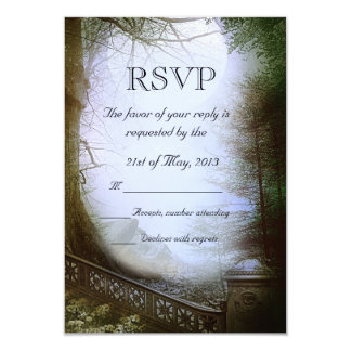 Enchanted Forest Scene Wedding RSVP 9 Cm X 13 Cm Invitation Card