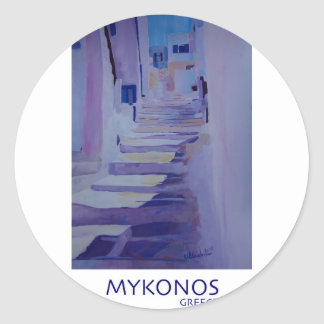 Enchanting Mykonos Greece View with Stairs Classic Round Sticker