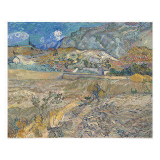 Enclosed Wheat Field with Peasant by Van Gogh Art Photo