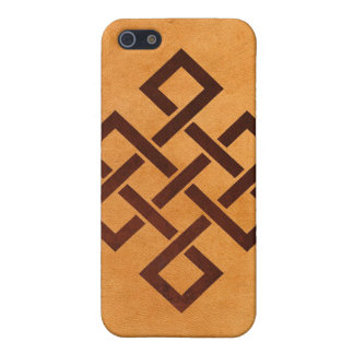 Endless Knot and Yellow Falsh Leather Iphone4 Case Case For iPhone 5/5S