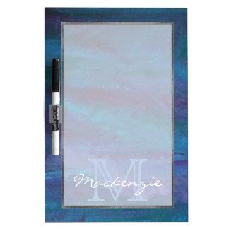 Energetic Kitchen | Monogram Blue Purple Turquoise Dry Erase Whiteboard
