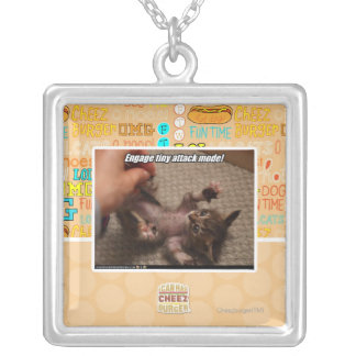 Engage tiny attack mode! square pendant necklace