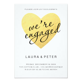 Engagement announcement | gold heart