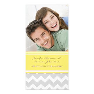 Engagement Announcement Photo Card Lemon Chevron