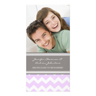 Engagement Announcement Photo Card Lilac Chevron