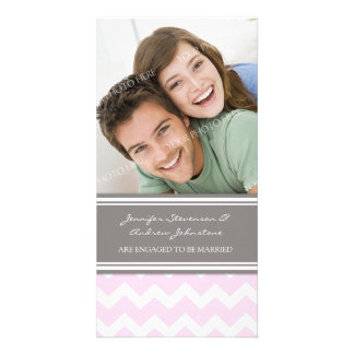 Engagement Announcement Photo Card Pink Chevron