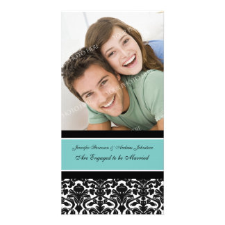 Engagement Announcement Photo Card Teal Damask
