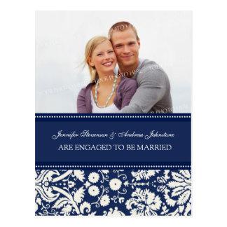 Engagement Announcement Photo Postcard Blue Damask