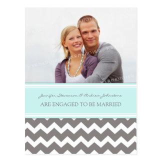 Engagement Announcement Photo Postcard Blue Grey