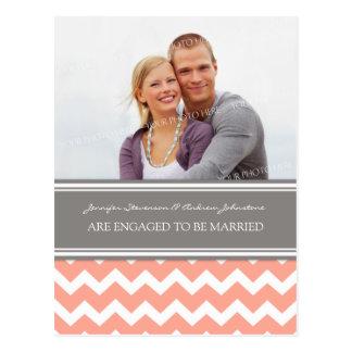 Engagement Announcement Photo Postcard Coral Grey