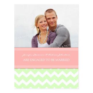 Engagement Announcement Photo Postcard Mint Coral