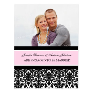 Engagement Announcement Photo Postcard Pink Damask