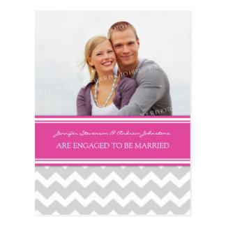 Engagement Announcement Photo Postcard Pink Grey