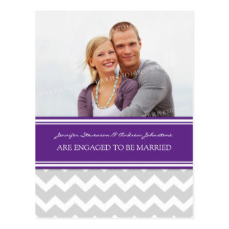 Engagement Announcement Photo Postcard Plum Grey