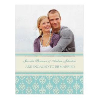 Engagement Announcement Photo Postcards Aqua Cream