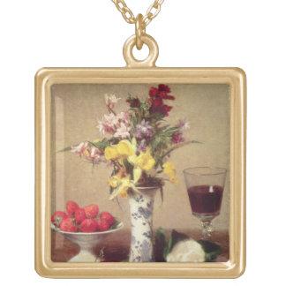 Engagement Bouquet Square Pendant Necklace