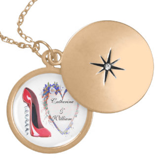 Engagement Gift Necklace, Red Corkscrew Stiletto a Round Locket Necklace