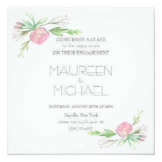 engagement invitation pink flowers