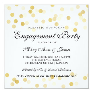 Engagement Party Faux Gold Foil Glitter Lights Card